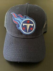 TENNESSEE TITANS LOGO Adjustable Navy Blue Trucker Mesh Cap Hat Snapback NEW