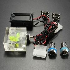 LED Thermometer 3 Way FlowMeter For Water Cooling Liquid Cooler System W/ 2 Barb