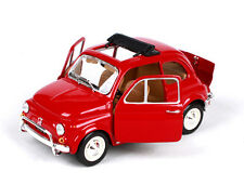 1968 Fiat 500L Red BURAGO 1/24 Scale Vehicles Car W/Base Diecast Simulation Toy