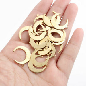 20Pcs Raw Brass Crescent Moon Ox Horn Charms Pendants Jewellery Findings 20*17mm