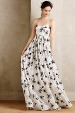 Anthropologie Tracy Reese Black White Beaded Hibiscus Gown-8