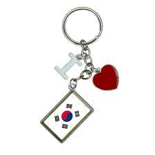 Flag of South Korea I Heart Love Keychain Key Ring