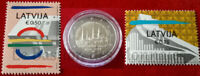 2 euro 2014 LETTONIE +1 ou 2 Timbres Riga Capitale Culturelle LETTLAND + Stamp