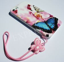 Butterfly&Flower Hard Case Cover for iPhone 5 5s with Cartoon Lanyard Retail Box