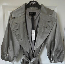 Per Una Speziale 3/4 Sleeve Belted Mac, Silver Grey, Size 14, BNWT, Was £79