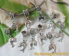 40pcs Bail & Dolphin charm for bracelets W3465