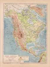 Nordamerika Flüsse Gebirge Physische Landkarte von 1888