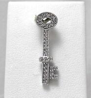 14K White Gold .06ct Diamond Skeleton Key Charm Pendant  2.0 gr