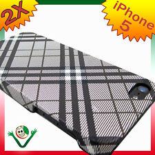 Pellicola+Custodia PLAID NERO rigida iPhone 5 5S SE cover protezione anti urto