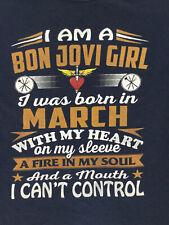 I Am a Bon Jovie Girl Womens T-Shirt 3XL Blue Short Sleeve Cotton Crew Neck