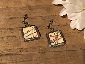 Recycled Broken Porcelain Jewelry, Road Map Dangling Post Earrings