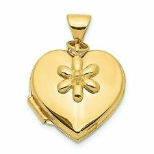 Solid 14k Yellow Gold 15mm Heart With Flower Dangle Locket