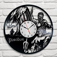 Poseidon dieu grec design vinyle horloge home decor art hobby shop office 2