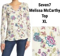 New Seven7 Melissa McCarthy Womens XL Top Blouse Floral Creme Thermal Waffle