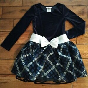 Bonnie Jean Girl's Blue silver Plaid Dress w Bow sz 10 Brand New Retails for $50