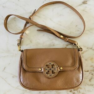 TORY BURCH Solid Tan Brown Soft Leather Small Crossbody Bag