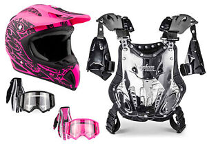 Adult Chest Protector Combo Pink Helmet Gloves Goggles Motocross DOT