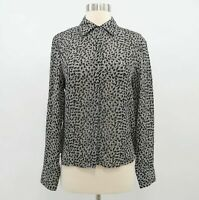 Brooks Brothers Silk Blouse Button-Up Shirt Top Womens 8 Gray Speckled Career