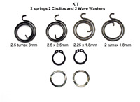 Door Handle Repairs / Replacements Kit: 2 Springs 2 Circlips and 2 Wave Washers.