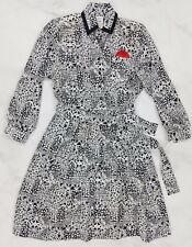Vtg Abstract Black White Long Sleeve Mod Summer A-Line Dress, Womens Size 10