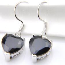 European Special Heart Style 12 MM Black Onyx Gemstone Dangle Hook Earrings