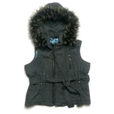 Women's Medium BB Dakota Grey Hooded Vest Faux Fur Hood