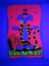 Vintage Psychedelic Blacklight Poster THE DEVIL MADE ME DO IT Sylvester Cat 1972
