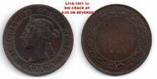 (L01A) 1901 1 Cent_DIE CRACK AT 6:00_Error/Variety Coin
