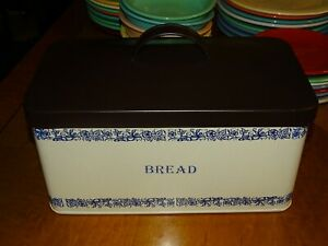 Bread Box All Metal Modern Farmhouse Style Bread Tin White With Black Letters