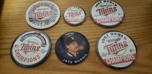 1987-91 Minnesota Twins Baseball Champs Pin Button Lot (6) Jack Morris