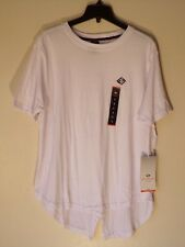 NWT MEN'S LARGE ENYCE LOGO WHITE CREW NECK SPLIT FISHTAIL TEE T-SHIRT $32 #1090