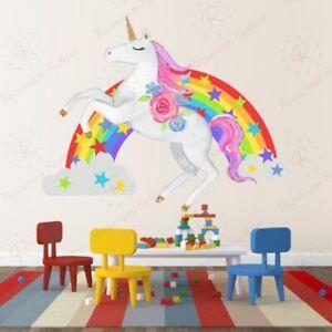 Regenbogen Wandtattoo Wandsticker Wandbild Einhörner Kinderzimmer  mädchen 53cm