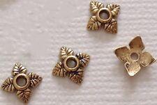 100 Tibetan Silver / Gold Tone Alloy 4 Leaf Bead caps 6mm Jewellery Findings
