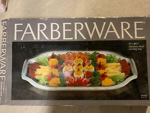 "Farberware Stainless Steel Serving Tray 11"" X 18-1/2  #777 NEW NIB"
