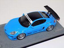 1/18 AB Models Porsche Cayman Rocket Bunny Gloss Baby Blue on Alcantara Base A