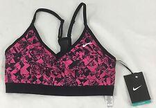Nike Pro Women Light Support Sports Training Bra Black Pink Print 823345 Size S