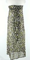 Milly Cabana 8 Brown Lime Cream Strapless Belted 100% Cotton Maxi Dress G324