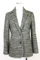 womens gray white J JILL blazer jacket textured modern casual career business XS