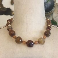 Vintage faceted natural agate stone necklace