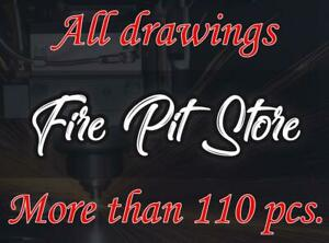 All my digital drawings. Fire Pits, fireplaces DXF files for plasma, laser.