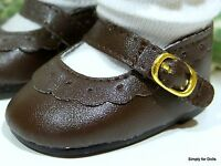 """DARK BROWN Leather-Look Mary Jane DOLL SHOES fits 18"""" AMERICAN GIRL Doll Clothes"""