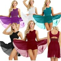 Women's Chiffon Asymmetric Ballet Dance Dress Gym Skating Leotard High-Low Skirt