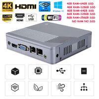 Mini PC For Intel J1900 4 Core 4/8GB RAM 64/128/256GB SSD 2 Lan 4 USB VGA HDMI