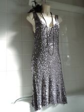 WALLIS VTG Style 1920's Silver Grey Crochet Sequin Flapper Gatsby Tunic DRESS S