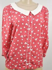 Women's Lauren Conrad Minnie Mouse Size Small Boxy Collared Top New Dots LC