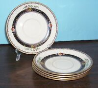 5 LENOX CORONADO SAUCERS RAISED ENAMEL FRUIT & FLOWER DECORATIONS BLACK MARK