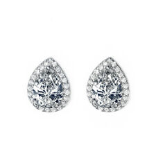 White Gold Plated Clear White Sparkling Pear Zircon Stud Earring Bridal Jewelry