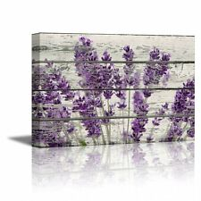 Wall26 Canvas Prints Wall Art - Retro Style Purple Flowers on Vintage Wood Home