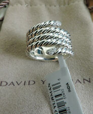 David Yurman Willow Serpent Pave Diamond Cable Sterling Silver Ring 7