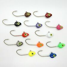 10 PK Painted Minnow Jig Heads Various Sizes and Colors with Sickle Hooks
